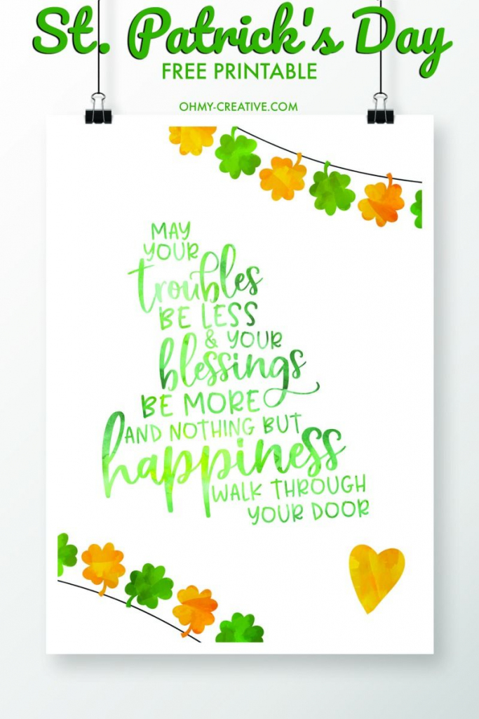 St. Patrick's Day Sayings Free Printables | Printables | Saint | Free Printable St Patrick's Day Card