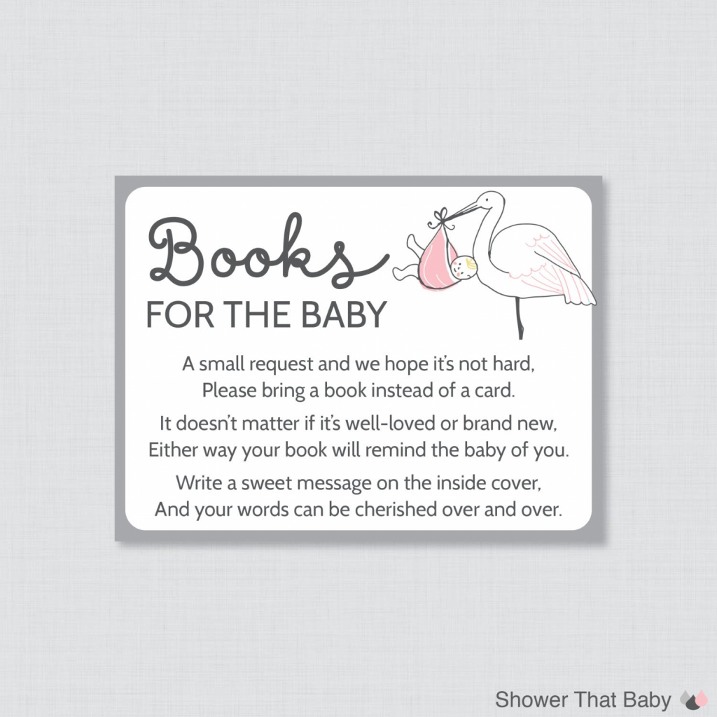 Stork Baby Shower Bring A Book Instead Of A Card Invitation Mobile | Please Bring A Book Instead Of A Card Printable