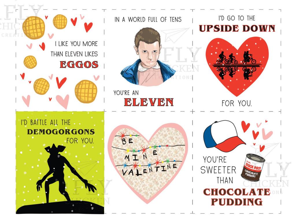 Stranger Things Printable Valentine's Day Cards - Funny Printable | Funny Printable Valentine Cards For Husband