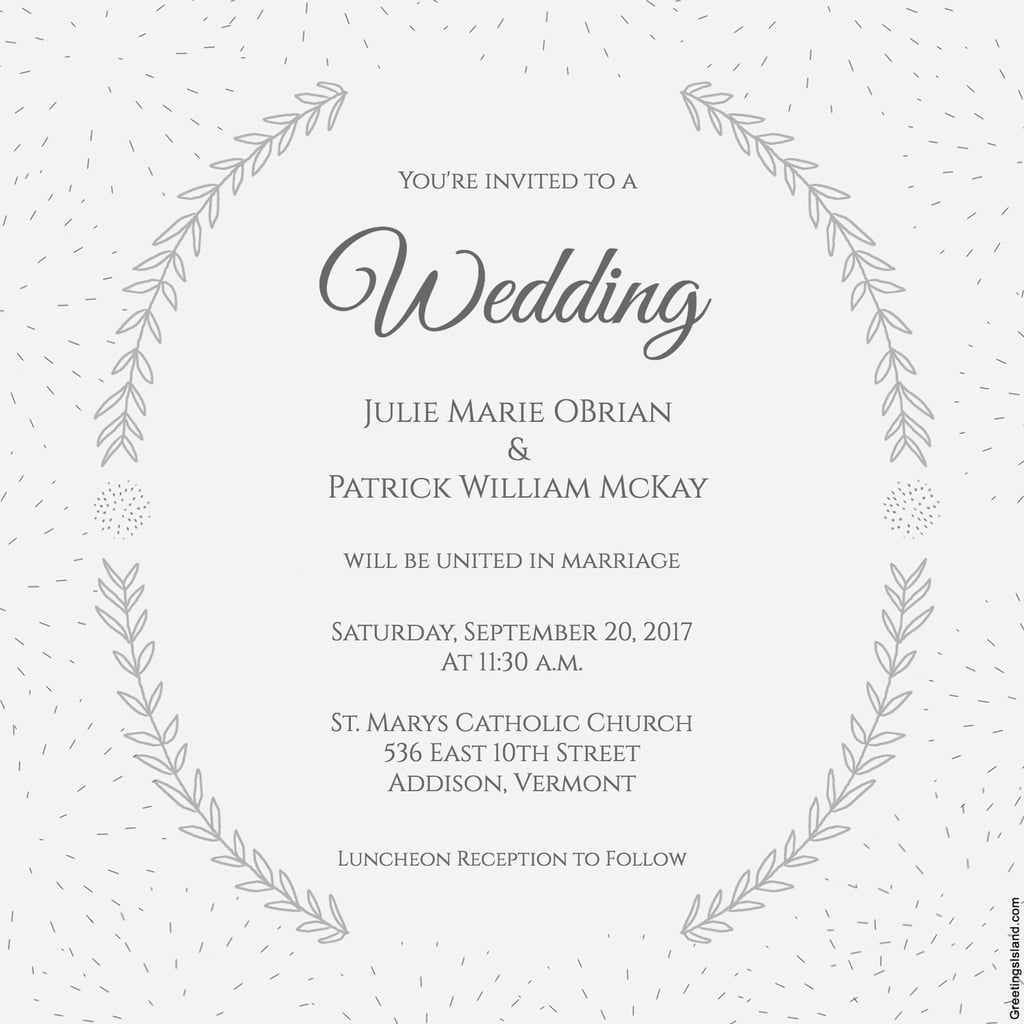 Stylized Laurels Wedding Invitation | Free Printable Wedding | Free Printable Wedding Cards