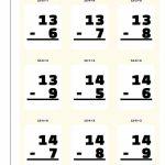 Subtraction Flash Cards | Subtraction Flash Cards Printable