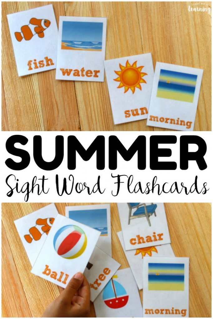 Summer Printable Sight Word Flashcards - Look! We're Learning! | Sight Words Flash Cards Printable