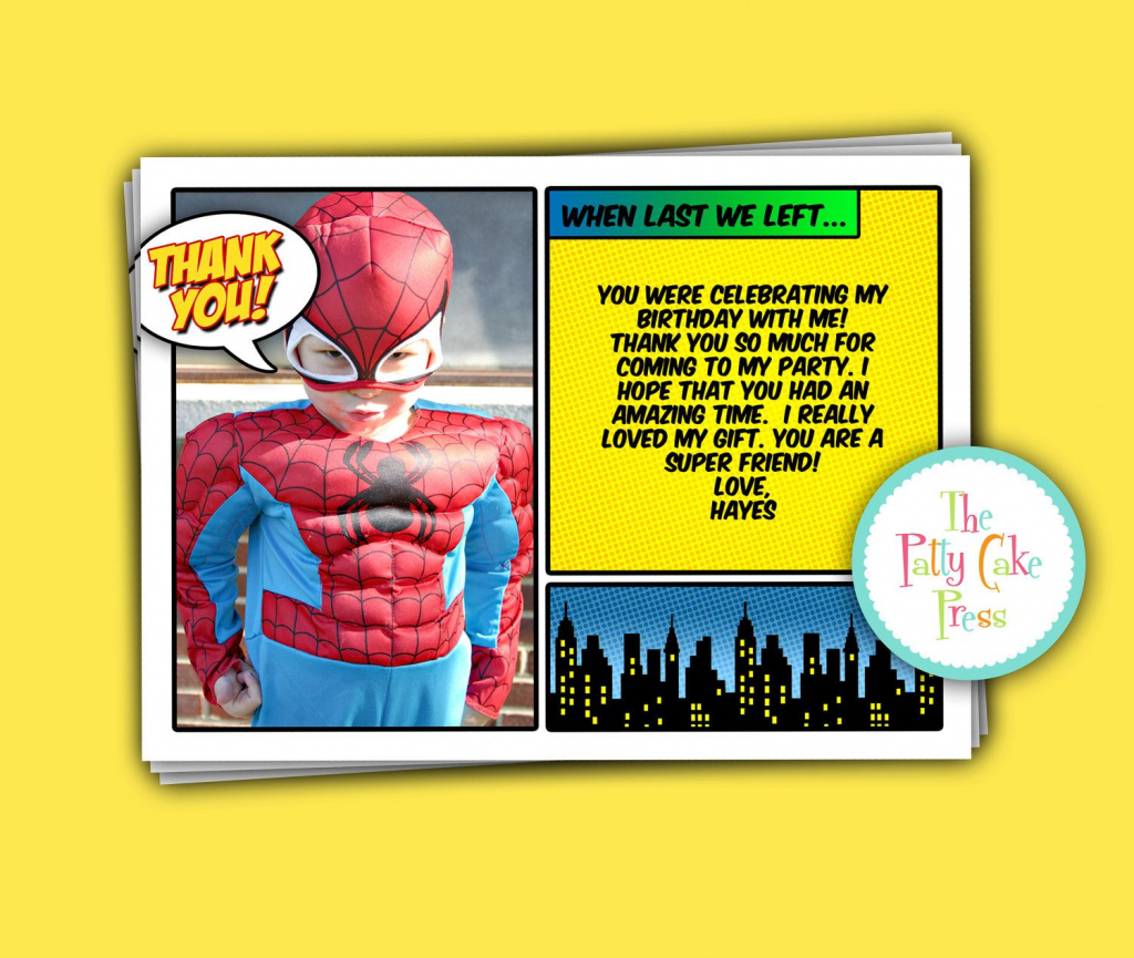 Super Hero Thank You Cards Custom Printable Digital File Birthday | Spiderman Thank You Cards Printable