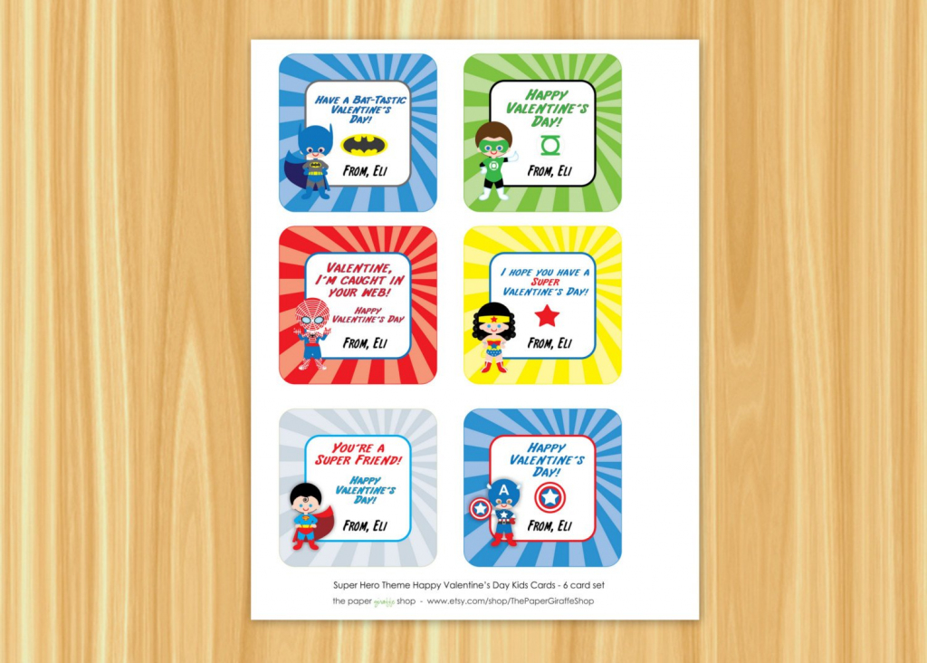 Superhero Valentine Cards For Kids Superman Spiderman | Etsy | Free Printable Superman Valentine Cards
