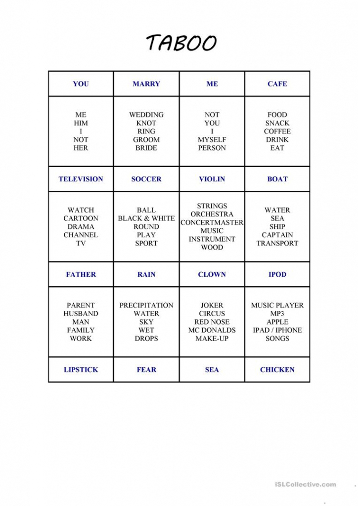 Taboo Card Game 2 Worksheet - Free Esl Printable Worksheets Made | Esl Taboo Cards Printable