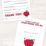 Teacher Appreciation Gift Printable Teacher Thank You Card End Of | Printable National Teacher Appreciation Week Cards