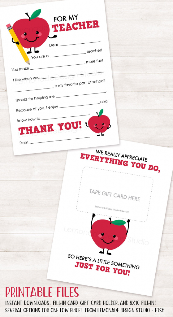 Teacher Appreciation Gift Printable Teacher Thank You Card End Of | Printable Teacher Appreciation Cards