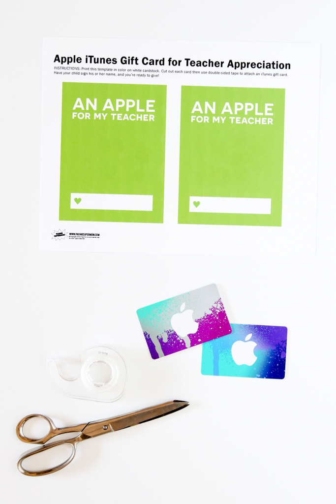 Teacher Appreciation Itunes Gift Card Free Printable Template | Printable Itunes Gift Card