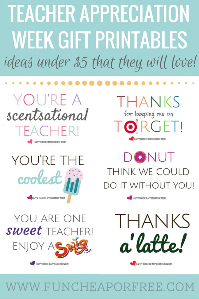 Teacher Appreciation Printables - Gifts Under $5! - Fun Cheap Or Free | Free Teacher Appreciation Week Printable Cards