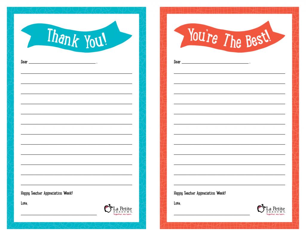 "Teacher Appreciation Week – Free Printable ""Thank You"" Notes | Thank You Card To Teacher Printable"