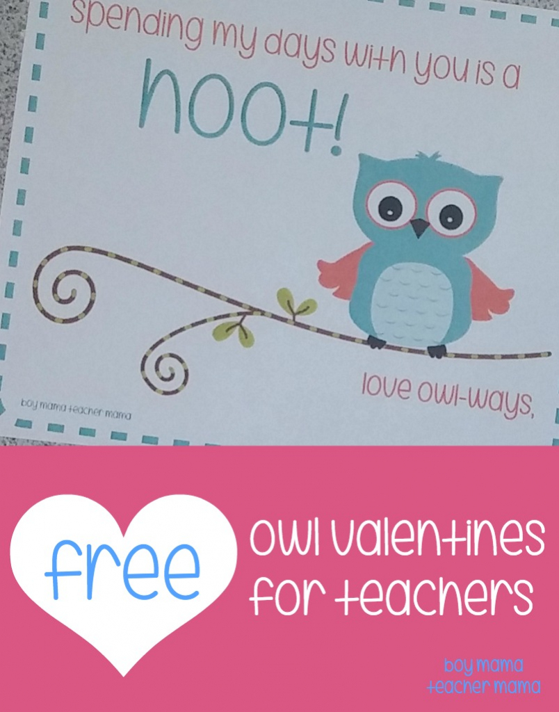 Teacher Mama: Free Printable Owl Valentines For Teachers - Boy Mama | Free Printable Owl Valentine Cards
