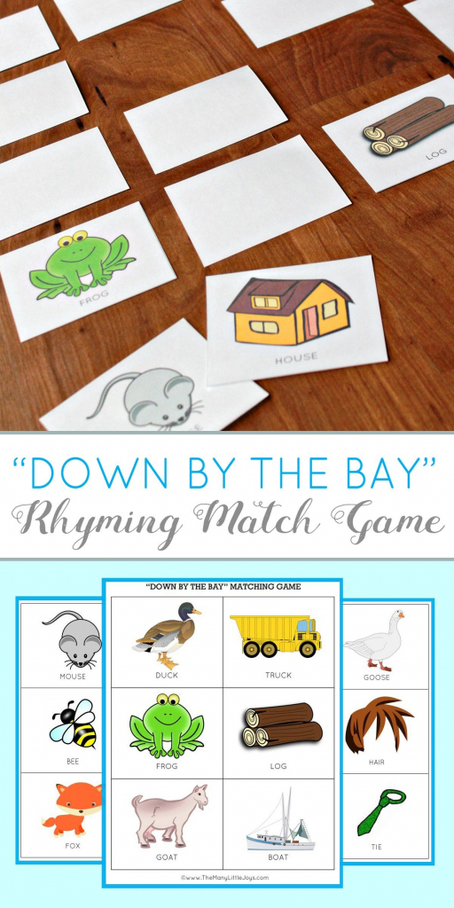 Teaching Kids To Rhyme: Rhyming Match Game (Free Printable | Rhyming Picture Cards Printable