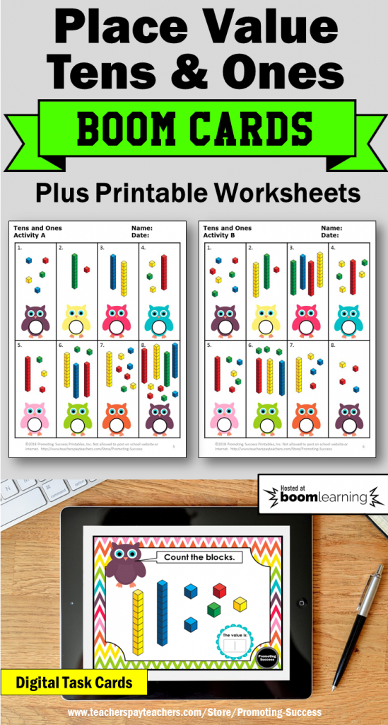 Tens And Ones Activities: You Will Receive 30 Boom Learning Cards | Base Ten Picture Cards Printable