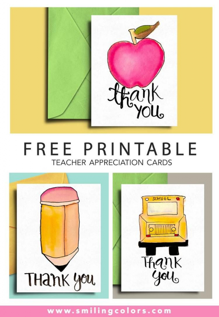 Thank You Card For Teacher And School Bus Driver With Free | Free Printable Thank You Cards For Teachers