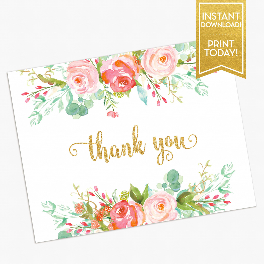 Thank You Card Printable Bridal Shower Thank You Card | Etsy | Printable Bridal Shower Card