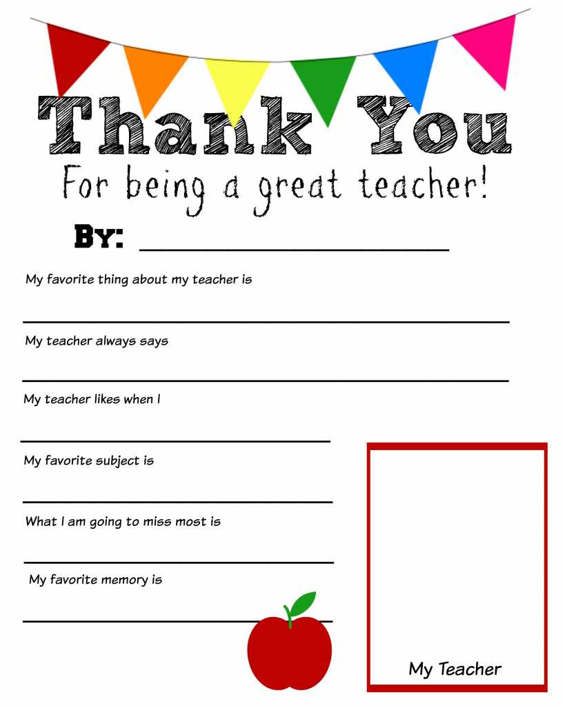 Thank You Teacher Free Printable | Printable Teacher Appreciation Cards