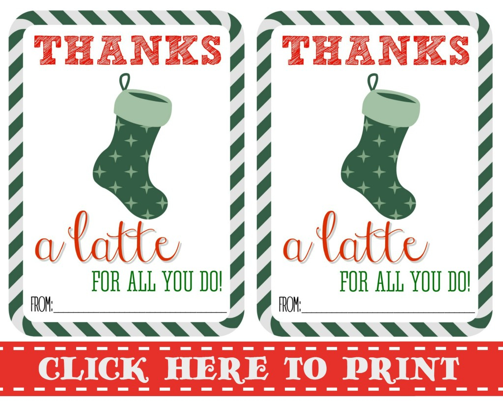 Thanks A Latte Free Printable | Thanks A Latte Free Printable Card