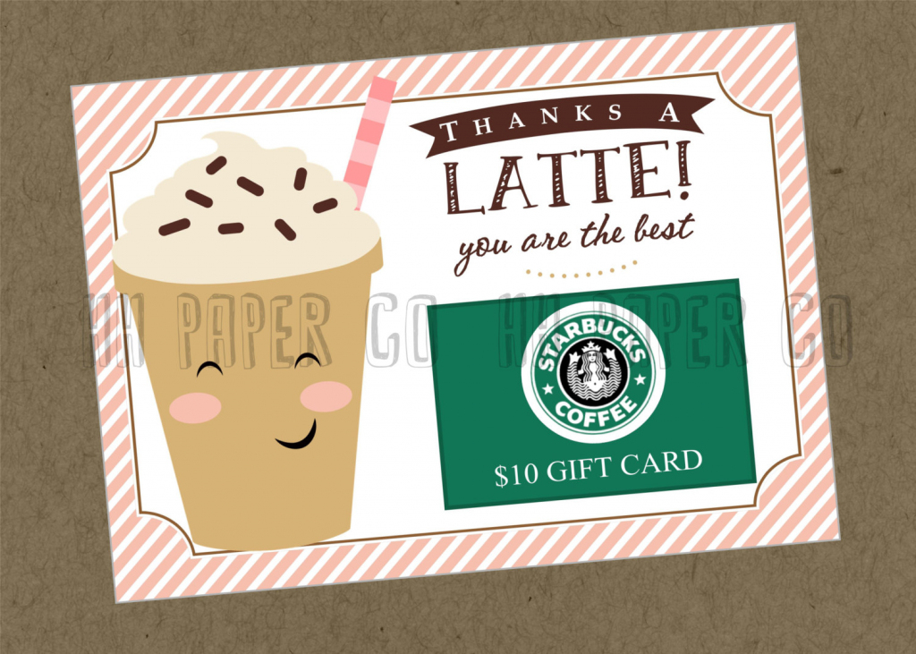 Thanks A Latte Gift Card Holder Printable Teacher Gift   Etsy   Thanks A Latte Free Printable Card