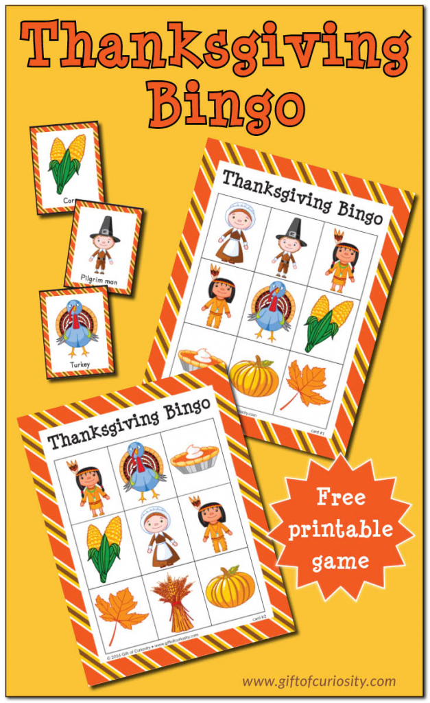 Thanksgiving Bingo {Free Printable} - Gift Of Curiosity | Turkey Bingo Cards Printable