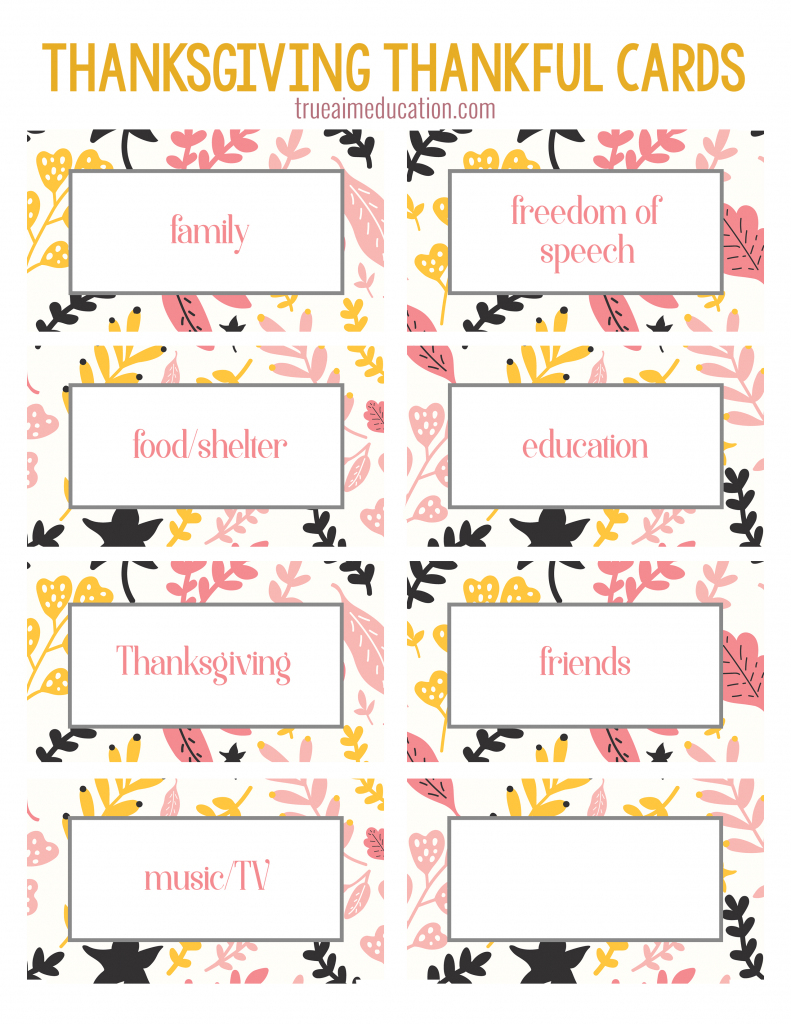 Thanksgiving Thankfulness With Free Printable Cards | Free Printable Thanksgiving Cards