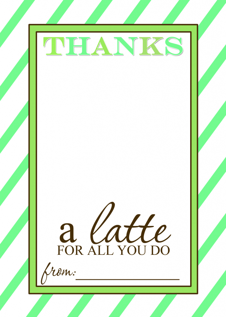 That's Country Living | Thanks A Latte Free Printable Card