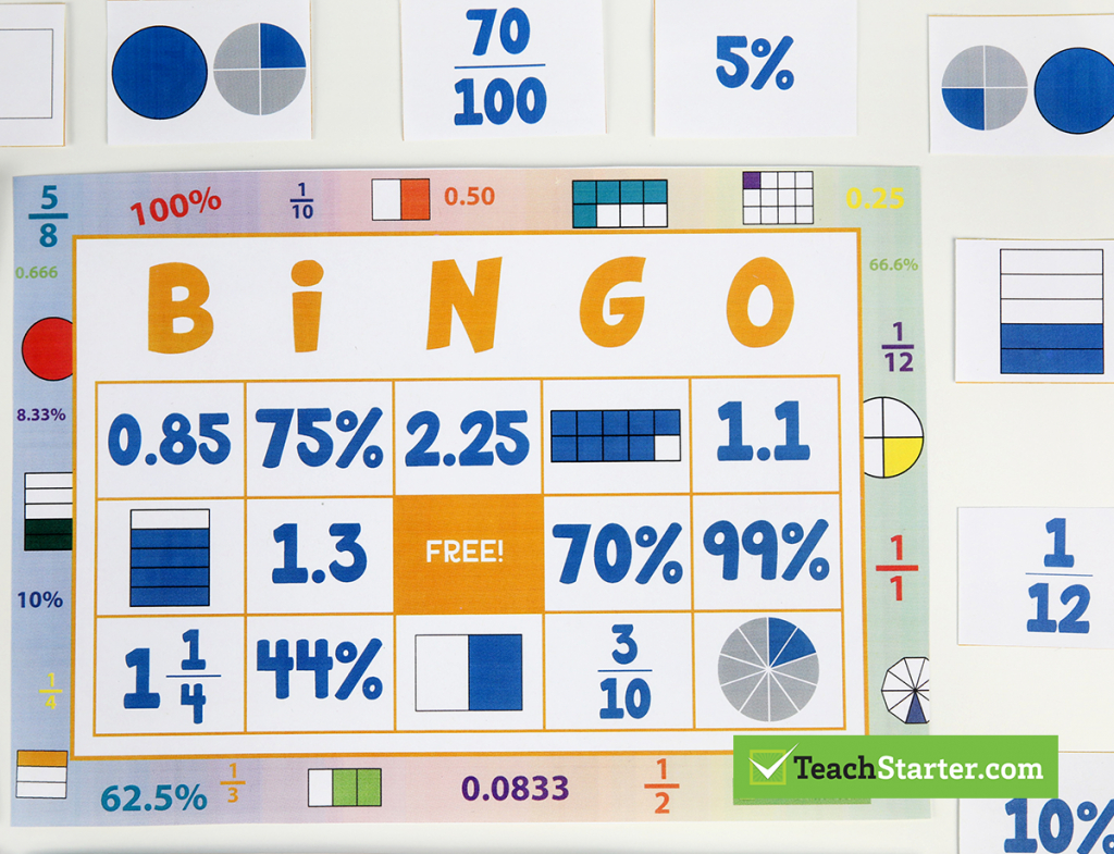 The 10 Best Primary School Classroom Bingo Games! | Fraction Bingo Cards Printable Free