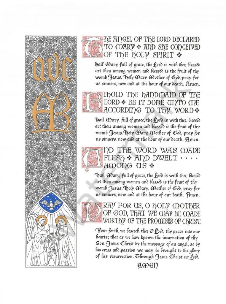 The Angelus Prayer Illuminated Calligraphy Digital Download | Etsy | Angelus Prayer Card Printable
