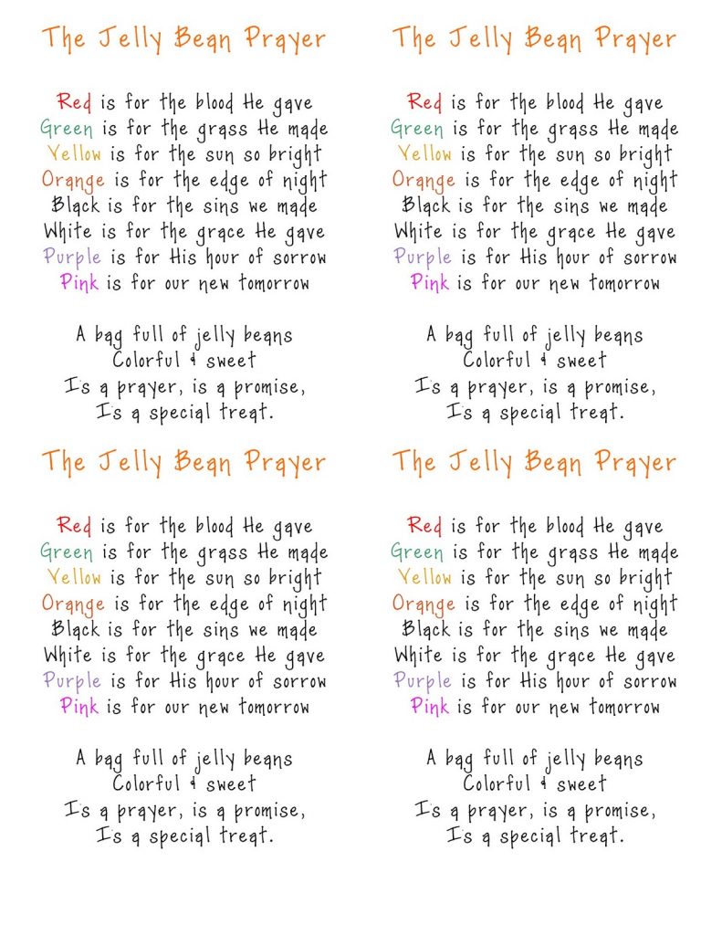 The Jelly Bean Prayer | Beau.court.family | Jelly Bean Prayer Printable Cards