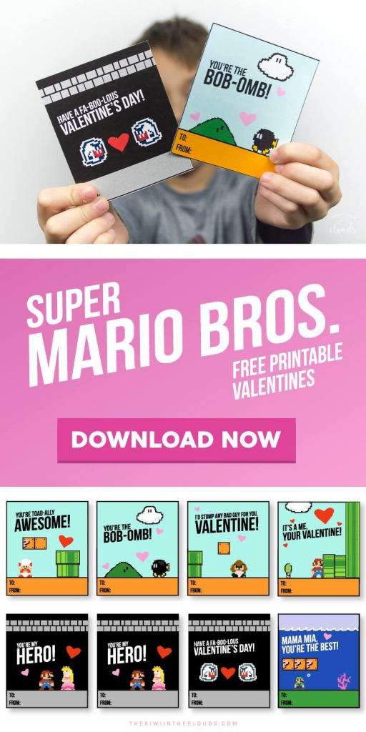 These Super Mario Valentines Printables Are Guarenteed To Be The | Printable Mario Valentines Cards