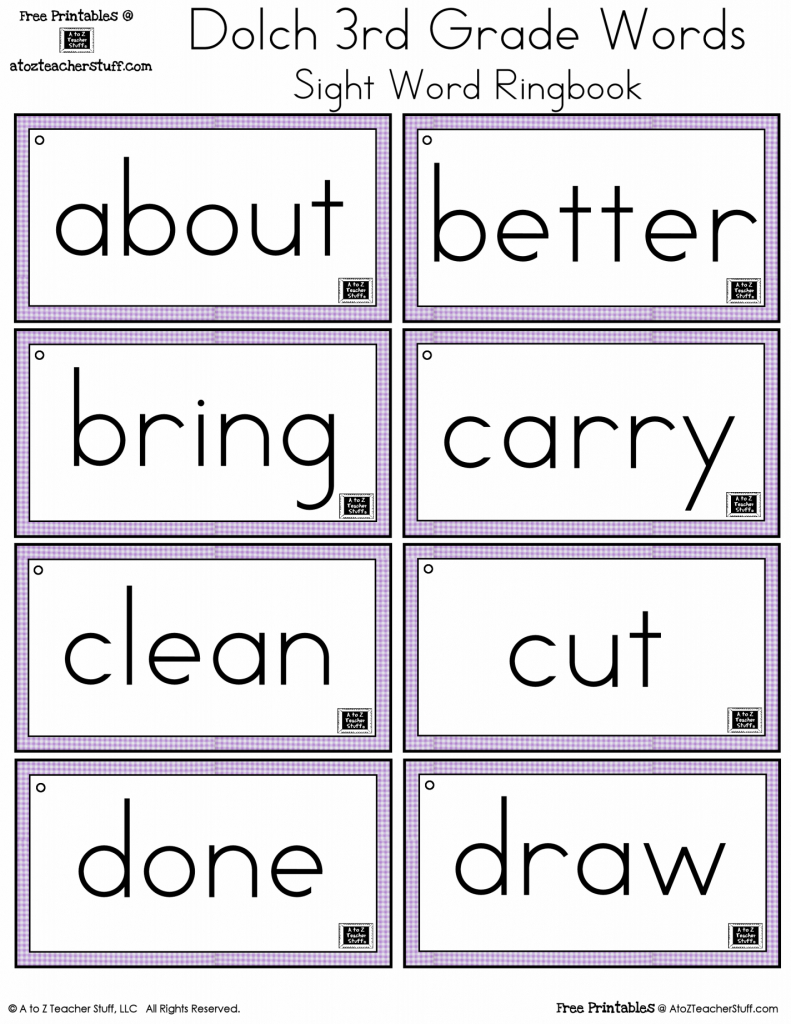 Third Grade Dolch Sight Words Ring Book | A To Z Teacher Stuff | Printable Number Words Flash Cards