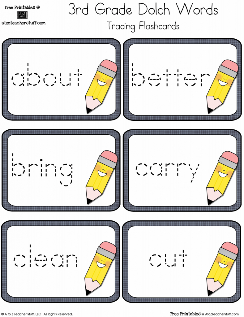 Third Grade Dolch Sight Words Tracing Flashcards | A To Z Teacher | 3Rd Grade Sight Words Flash Cards Printable