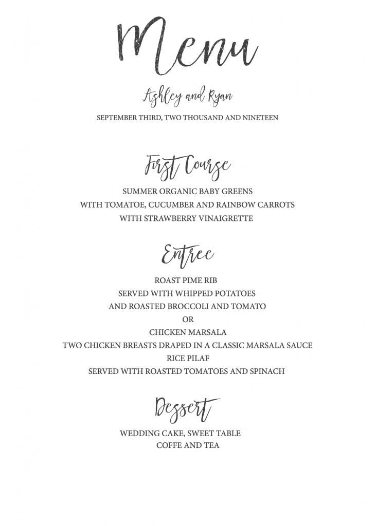 Timeless And Simple Wedding Invitation | Freebies & Free Printables | Free Printable Wedding Menu Card Templates