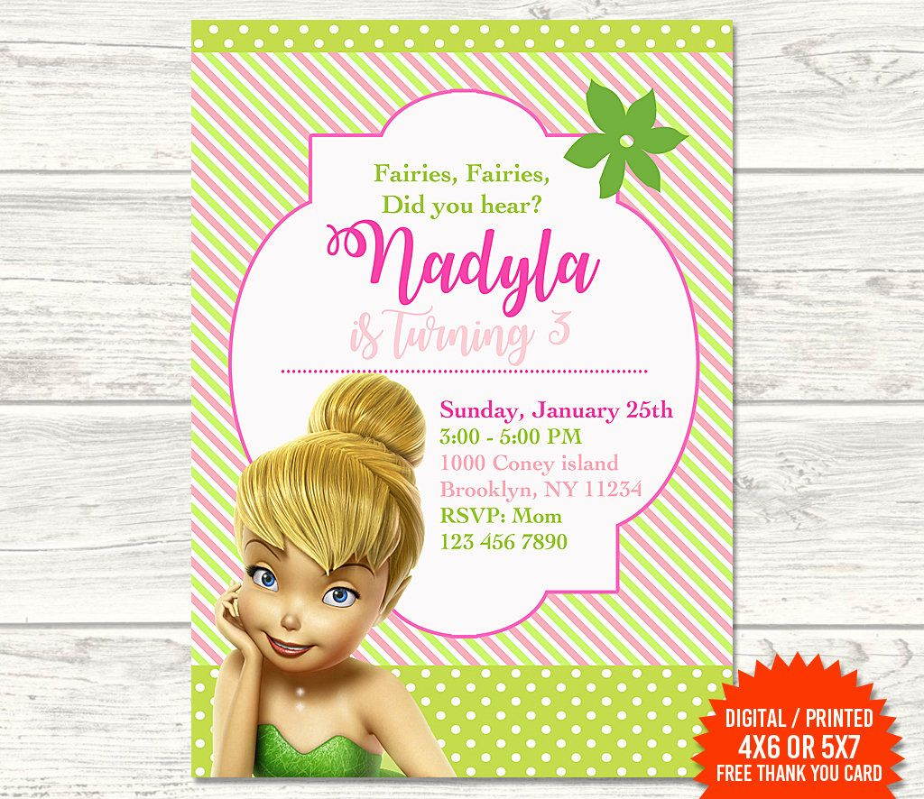 Tinkerbell Invitation, Fairy Invitation, Tinkerbell Birthday | Printable Tinkerbell Thank You Cards