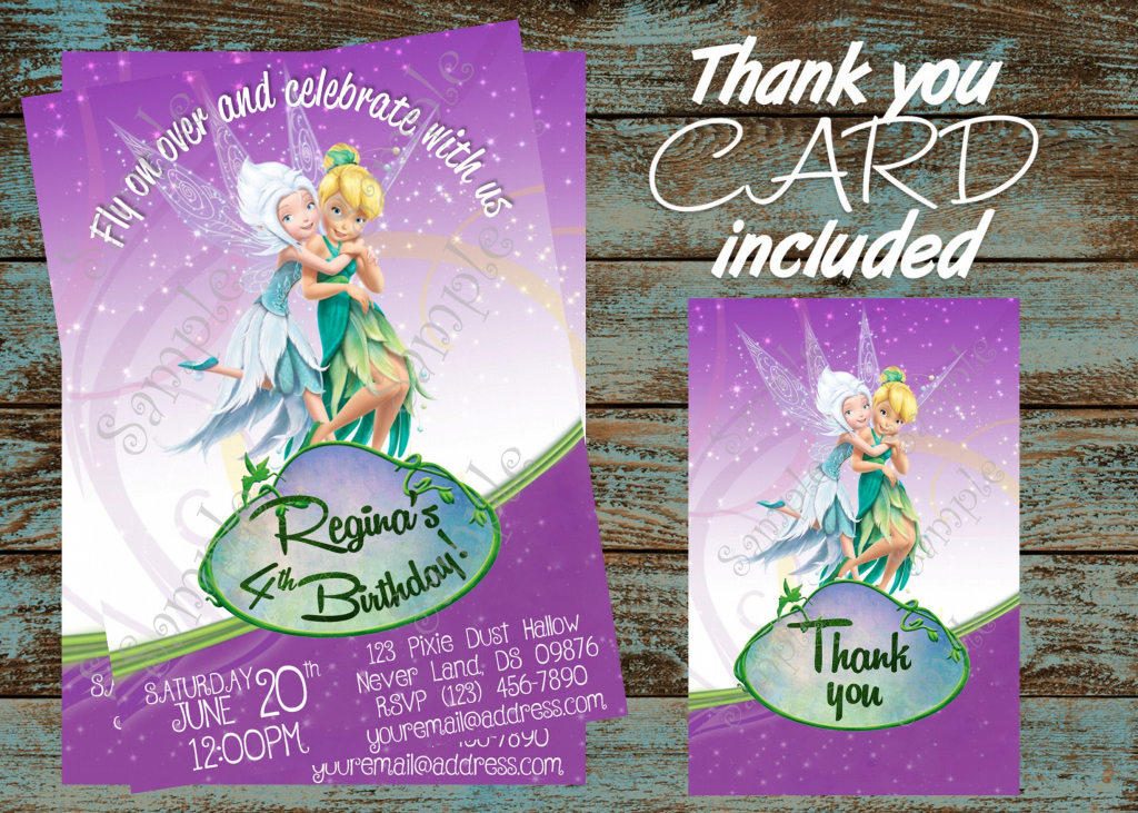 Tinkerbell Invitationtinkerbell And Periwinkle Invitation | Etsy | Printable Tinkerbell Thank You Cards