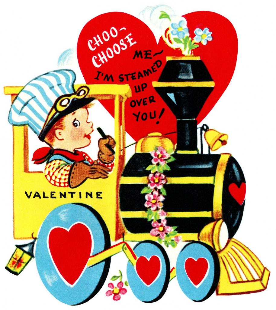 Train Valentine, Vintage Valentine Clip Art, Boy Engineer Driving | Printable Old Fashioned Valentine Cards