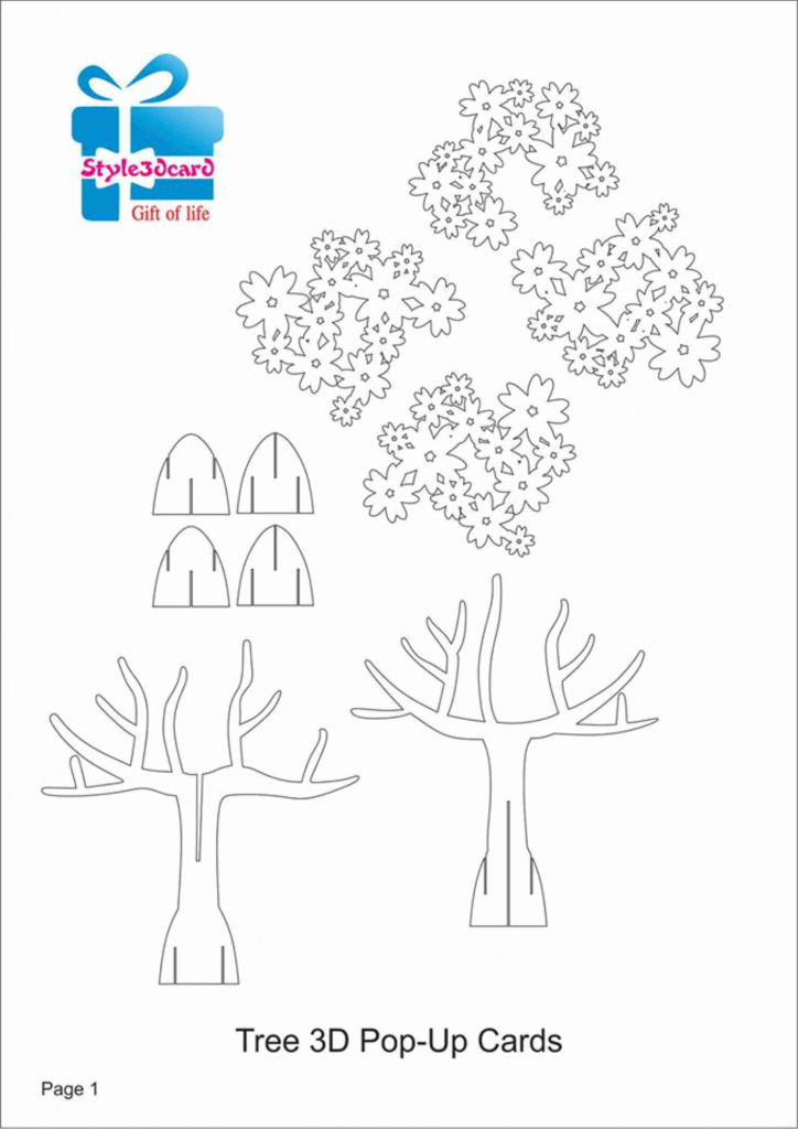 Tree 3D Pop Up Card/ Kirigami Pattern 1 | Kirigami Art | Pop Up Card | Free Printable Kirigami Pop Up Card Patterns