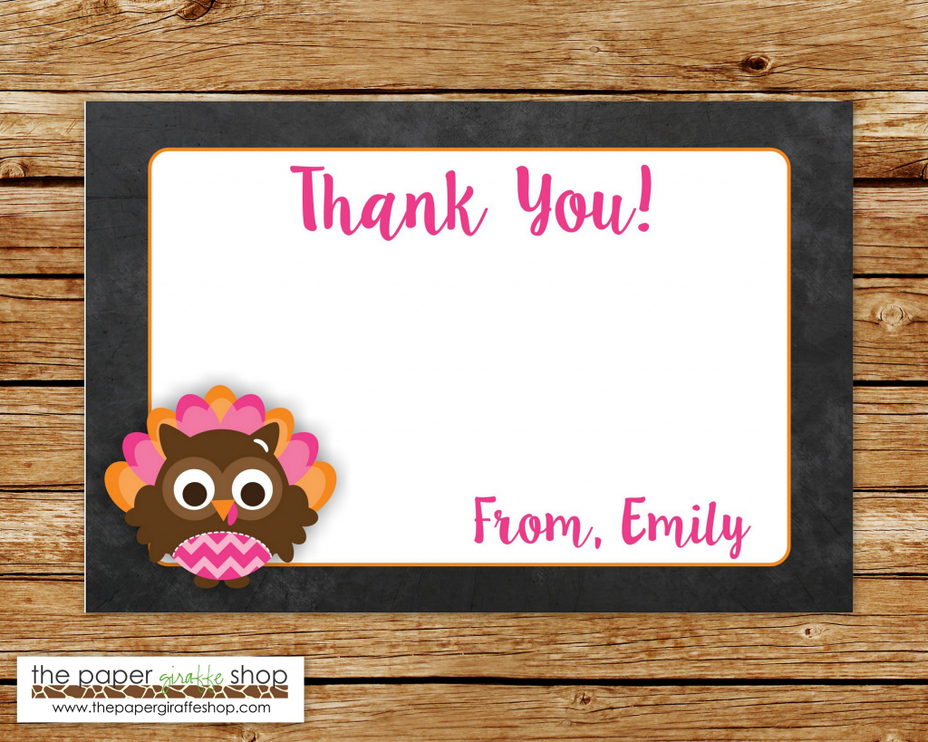 Turkey Thank You Card Pink And Orange Owl Turkey Thank You | Etsy | Printable Tinkerbell Thank You Cards