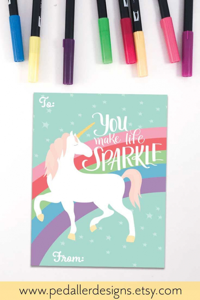 Unicorn Valentines Day Card For Kids, Rainbow Valentine Card For | Valentines Cards For Her Printable