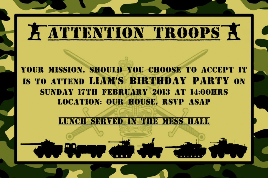 Unique Army Birthday Invitations Free Printable Party Awesome | Army Birthday Cards Printable