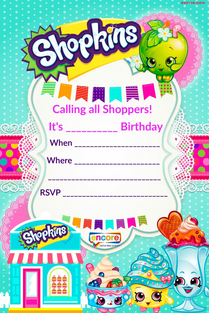 Updated - Free Printable Shopkins Birthday Invitation | Event | Free Printable Shopkins Thank You Cards