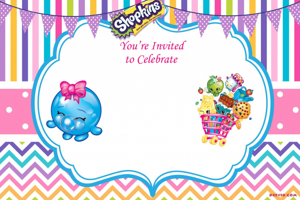 Updated - Free Printable Shopkins Birthday Invitation | Event | Printable Shopkins Birthday Card
