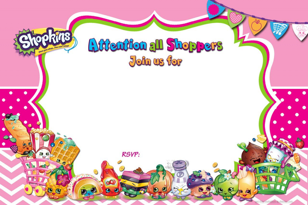 Updated - Free Printable Shopkins Birthday Invitation | Free | Free Printable Shopkins Thank You Cards
