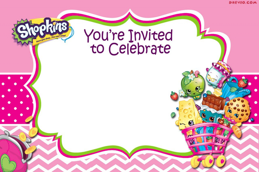 Updated - Free Printable Shopkins Birthday Invitation | Free | Printable Shopkins Birthday Card