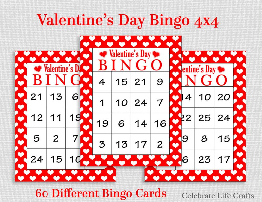 Valentine Bingo Game 60 Printable Valentine's Bingo | Etsy | Printable Valentine Bingo Cards With Numbers