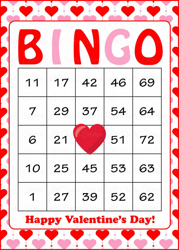 Valentine's Bingo Cards - Printable Download - Prefilled | Printable Valentine Bingo Cards With Numbers