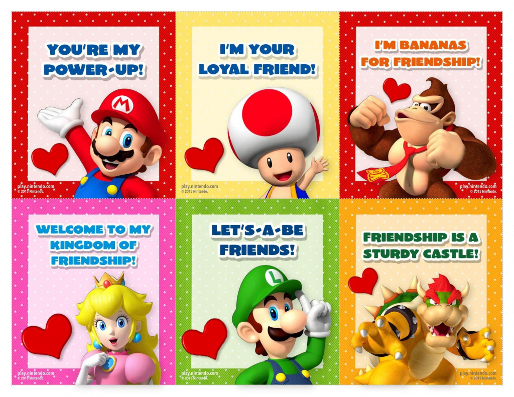 Valentine's Day Cards | Nintendo | Printable Valentines Day Cards | Printable Mario Valentines Cards