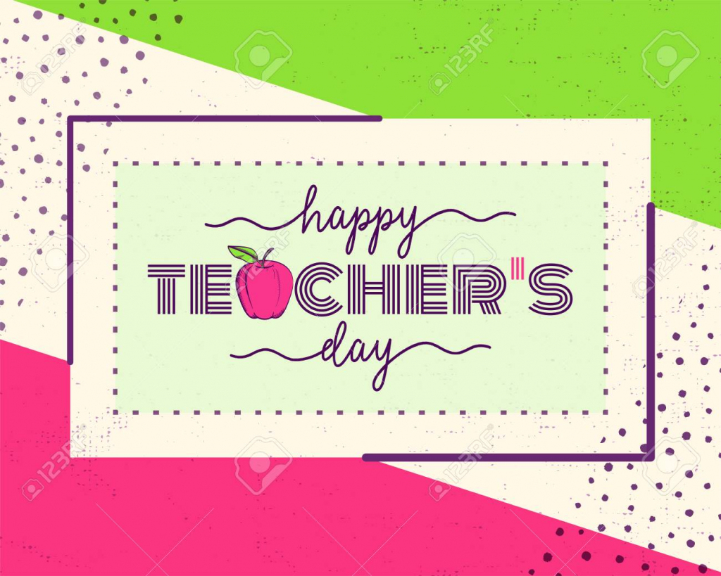 Vector Illustration Of Happy Teachers Day. Greeting Design For | Free Printable Teacher's Day Greeting Cards