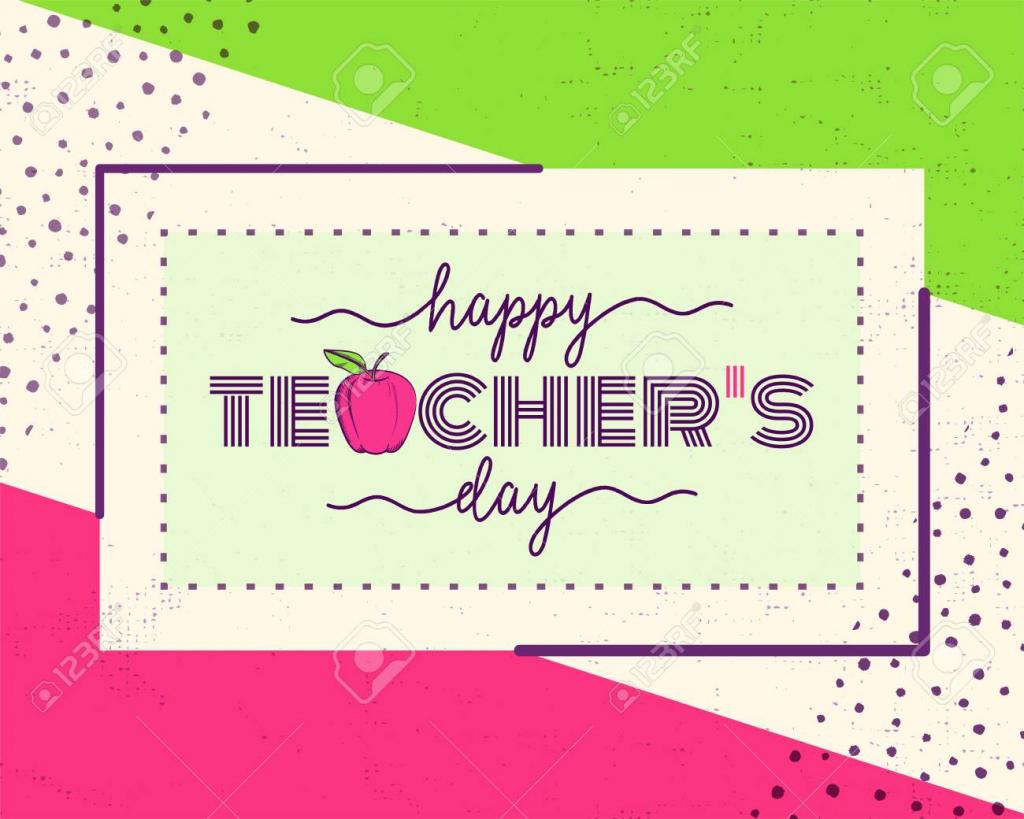 Vector Illustration Of Happy Teachers Day. Greeting Design For | Teachers Day Greeting Cards Printable