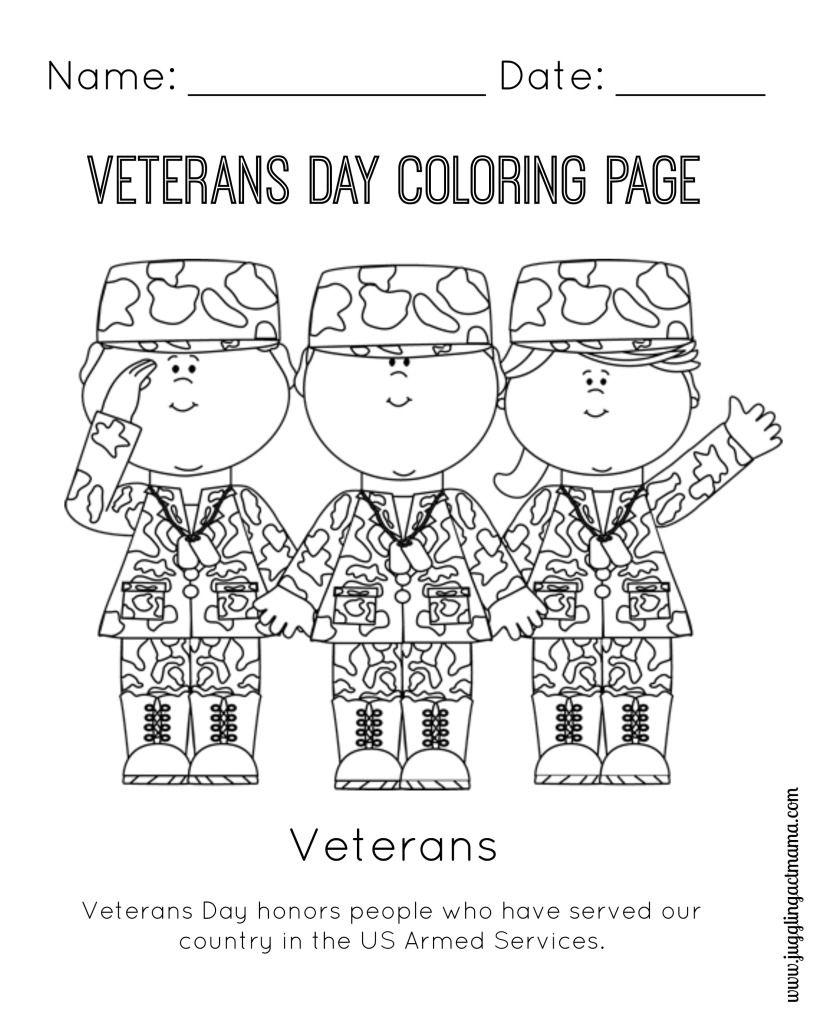 Veteran's Day Printable Coloring Page | Girl Scouts | Veterans Day | Veterans Day Free Printable Cards