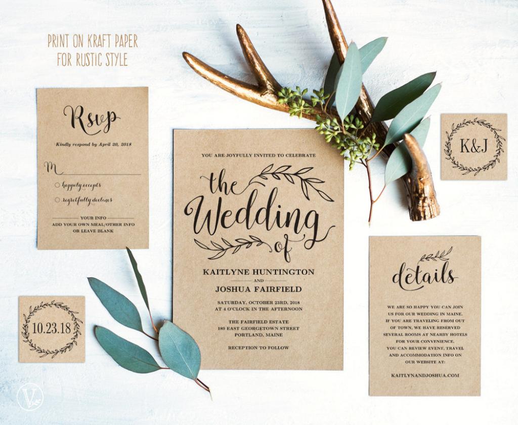Vintage Wedding Invitation Set Printable Wedding Invitation | Etsy | Printable Wedding Invitation Card Sample